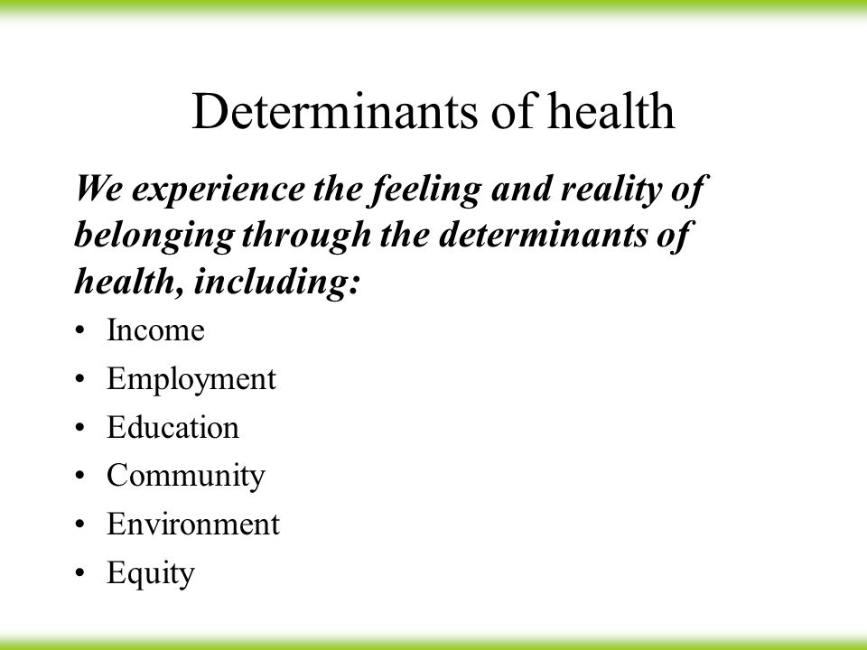 Determinants of health Income Employment Education Community Environment Equity We experience the feeling and reality of belonging through the determinants of health, including: