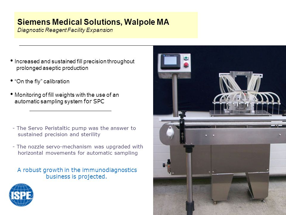 Siemens Medical Solutions, Walpole MA Diagnostic Reagent Facility Expansion Increased and sustained fill precision throughout prolonged aseptic production On the fly calibration Monitoring of fill weights with the use of an automatic sampling system for SPC _______________________ -- The Servo Peristaltic pump was the answer to - sustained precision and sterility -- The nozzle servo-mechanism was upgraded with - horizontal movements for automatic sampling A robust growth in the immunodiagnostics business is projected.