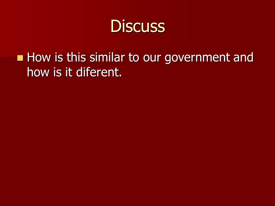 Discuss How is this similar to our government and how is it diferent.