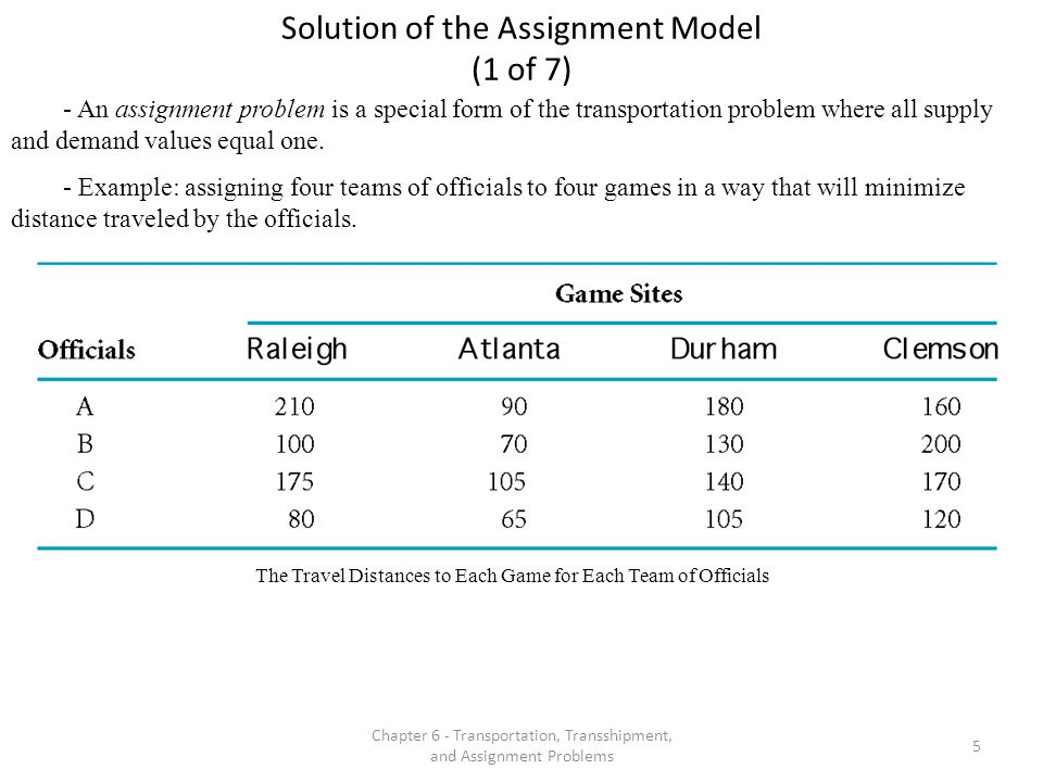 Chapter 6 - Transportation, Transshipment, and Assignment Problems 6 Solution of the Assignment Model (2 of 7) - An opportunity cost table is developed by first subtracting the minimum value in each row from all other row values (row reductions) and then repeating this process for each column.