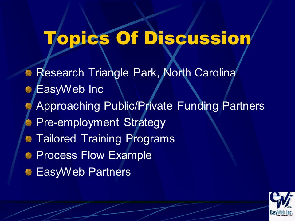 Topics Of Discussion Research Triangle Park, North Carolina EasyWeb Inc Approaching Public/Private Funding Partners Pre-employment Strategy Tailored Training Programs Process Flow Example EasyWeb Partners
