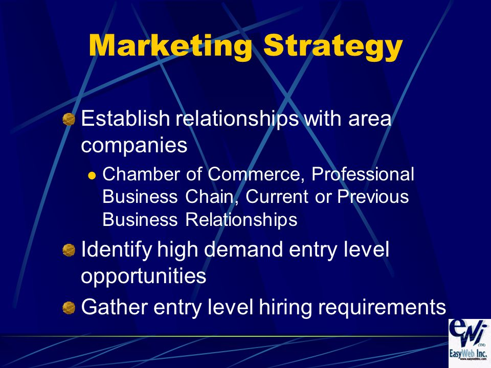 Marketing Strategy Establish relationships with area companies Chamber of Commerce, Professional Business Chain, Current or Previous Business Relationships Identify high demand entry level opportunities Gather entry level hiring requirements