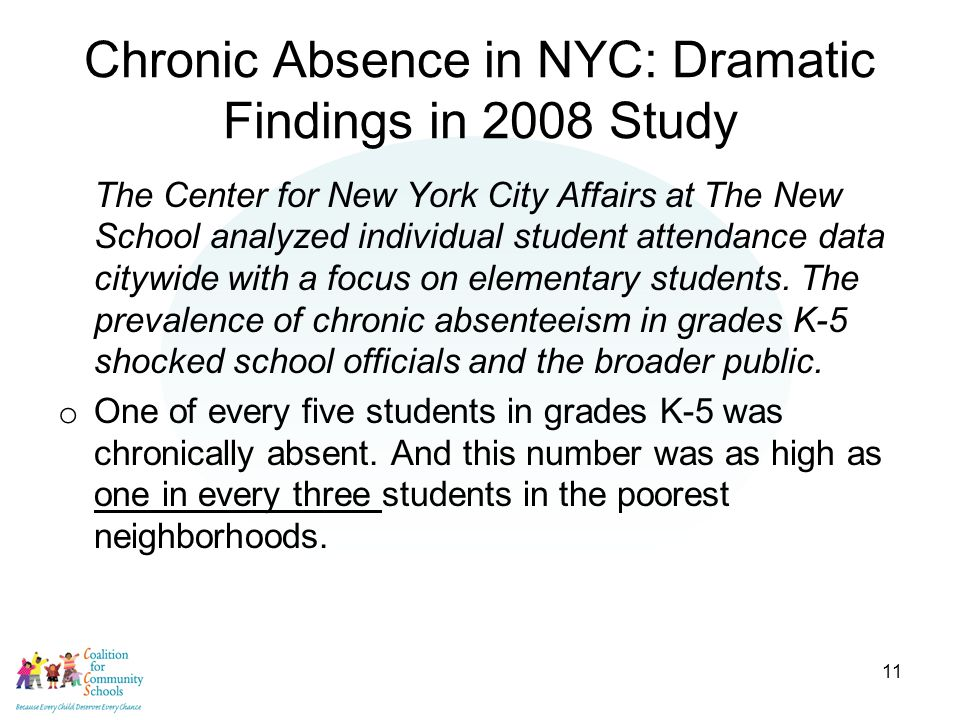 11 Chronic Absence in NYC: Dramatic Findings in 2008 Study The Center for New York City Affairs at The New School analyzed individual student attendance data citywide with a focus on elementary students.