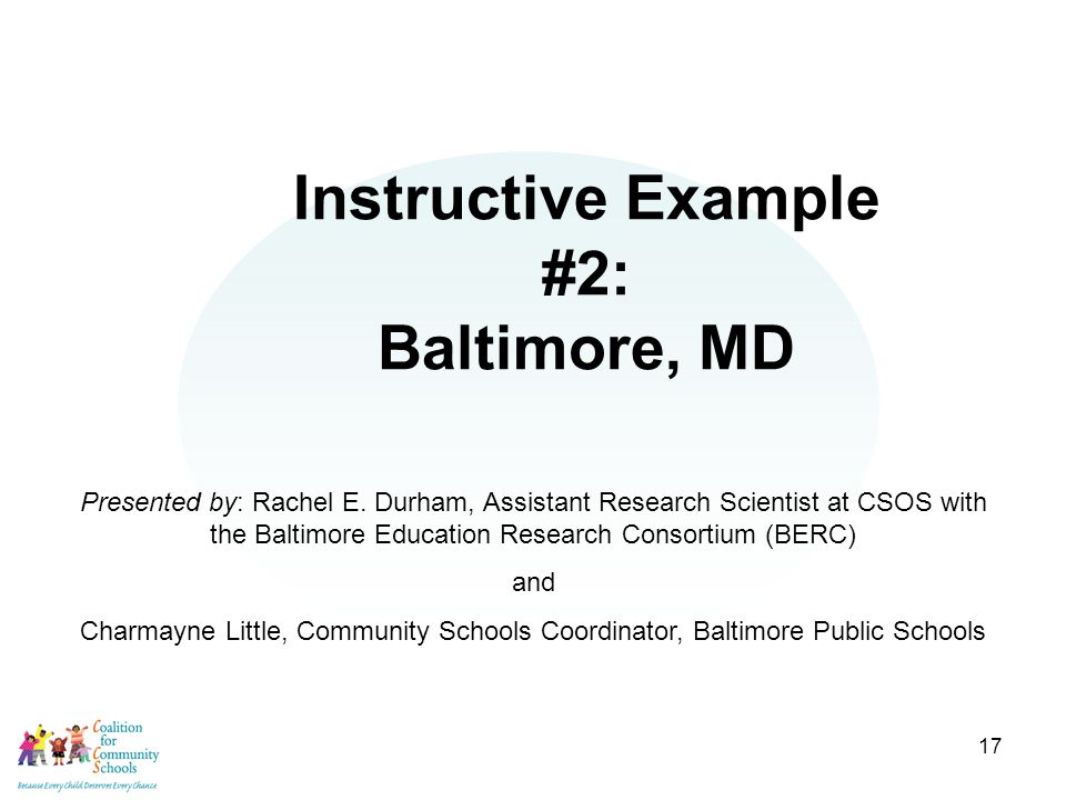 17 Instructive Example #2: Baltimore, MD Presented by: Rachel E.