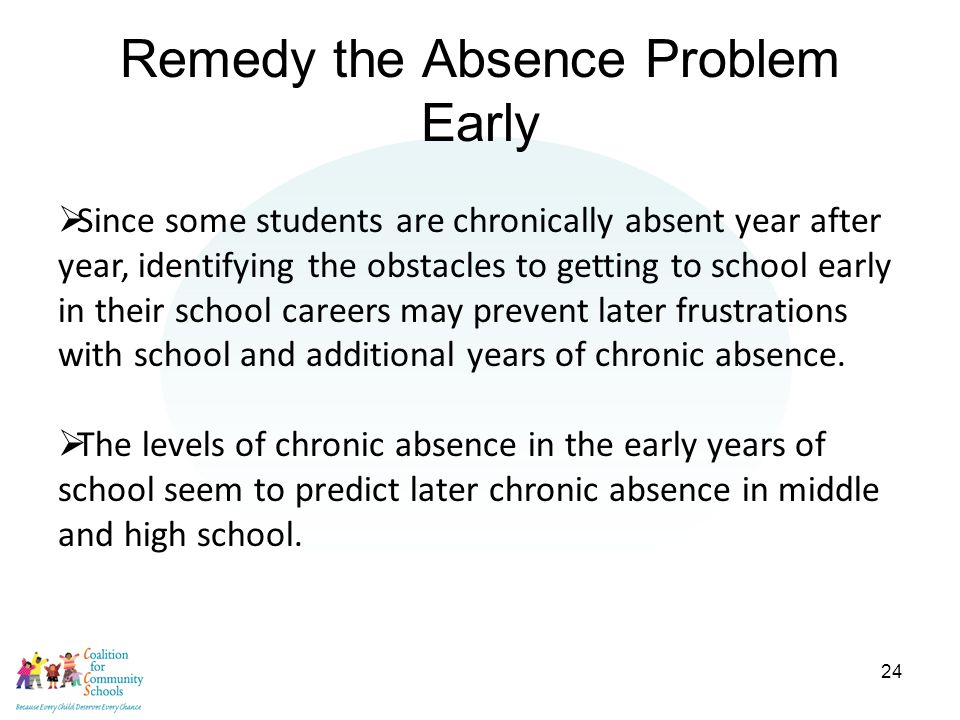 24 Remedy the Absence Problem Early  Since some students are chronically absent year after year, identifying the obstacles to getting to school early in their school careers may prevent later frustrations with school and additional years of chronic absence.