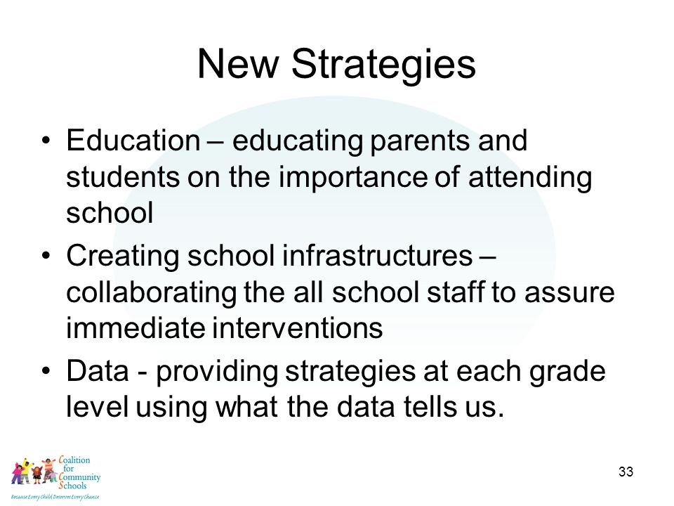 33 New Strategies Education – educating parents and students on the importance of attending school Creating school infrastructures – collaborating the all school staff to assure immediate interventions Data - providing strategies at each grade level using what the data tells us.