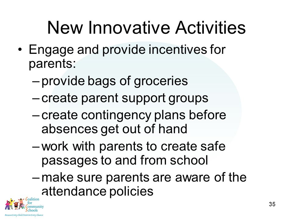 35 New Innovative Activities Engage and provide incentives for parents: –provide bags of groceries –create parent support groups –create contingency plans before absences get out of hand –work with parents to create safe passages to and from school –make sure parents are aware of the attendance policies