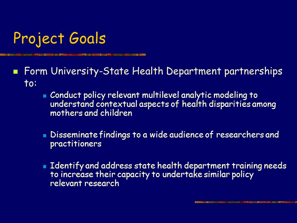 Project activities & timeline (condensed) Initial HRSA-State Health Department-University planning meeting (Oct 2002) Set foundation for initial work re: initial outcomes, neighborhood data, training issues IRB Clearance, Obtaining & Cleaning Birth Data (Spring 2003) Via trial and error, mechanisms for undertaking 'group' analyses and sharing results evolved Discussed/debated units of analysis (census units) Obtained census data and discussed availability and utility of other sources (discussions continue) Discussed/debated over software packages