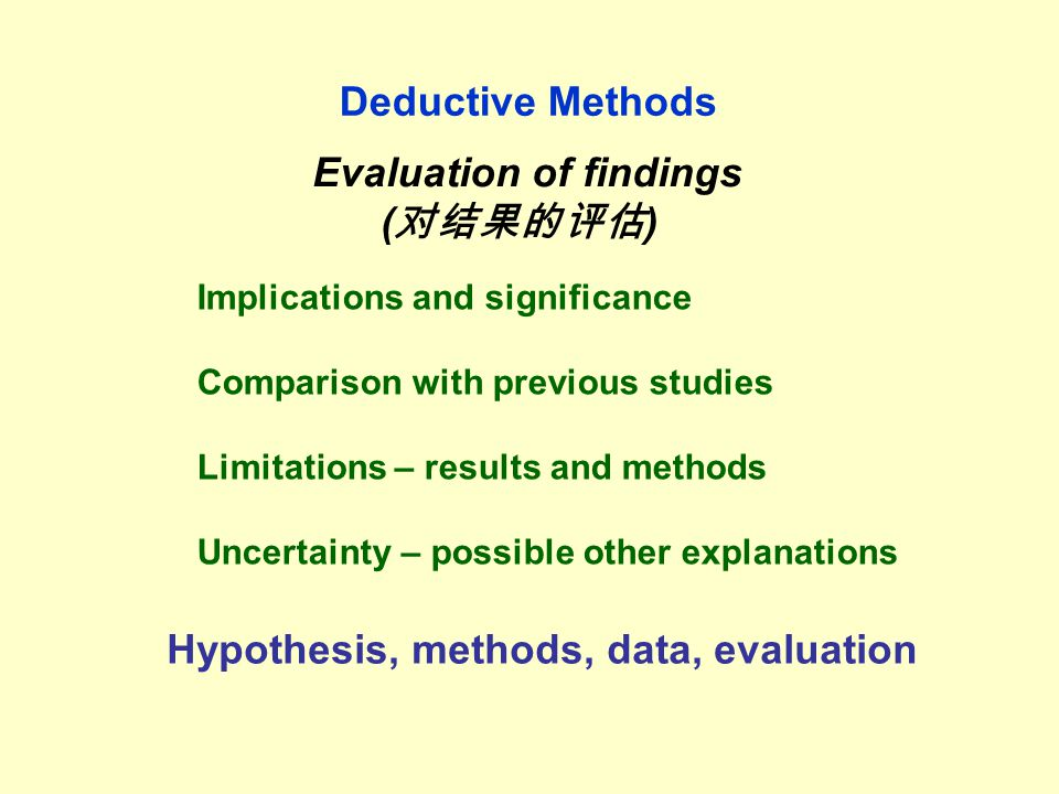 Deductive Methods Evaluation of findings ( 对结果的评估 ) Implications and significance Comparison with previous studies Limitations – results and methods Uncertainty – possible other explanations Hypothesis, methods, data, evaluation