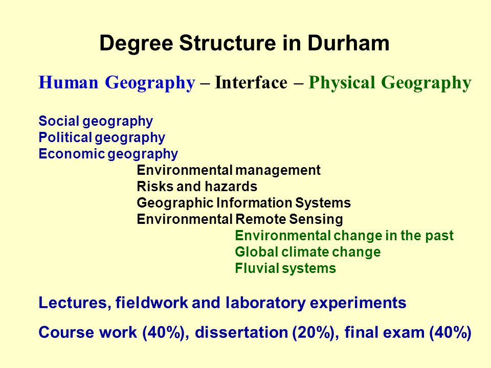 Degree Structure in Durham Human Geography – Interface – Physical Geography Social geography Political geography Economic geography Environmental management Risks and hazards Geographic Information Systems Environmental Remote Sensing Environmental change in the past Global climate change Fluvial systems Lectures, fieldwork and laboratory experiments Course work (40%), dissertation (20%), final exam (40%)