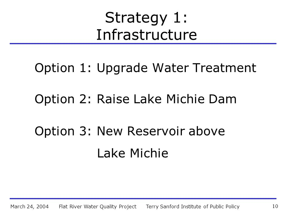 Terry Sanford Institute of Public PolicyFlat River Water Quality ProjectMarch 24, 2004 10 Strategy 1: Infrastructure Option 1: Upgrade Water Treatment Option 2: Raise Lake Michie Dam Option 3: New Reservoir above Lake Michie