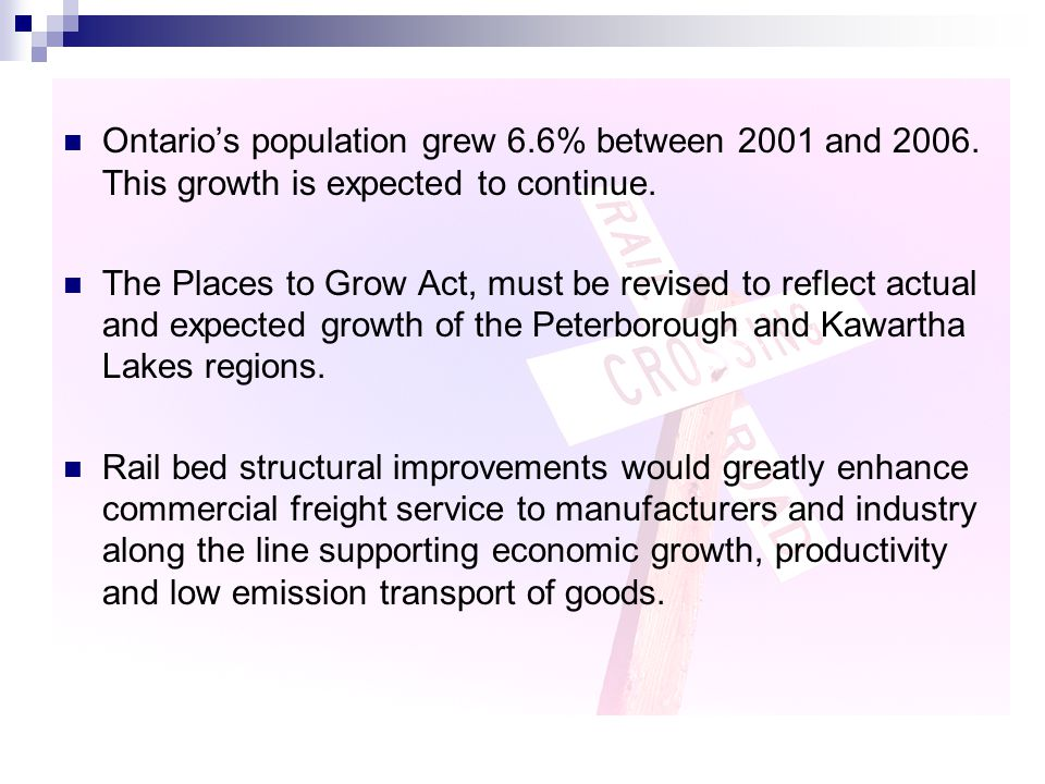 Ontario's population grew 6.6% between 2001 and 2006. This growth is expected to continue. The Places to Grow Act, must be revised to reflect actual a