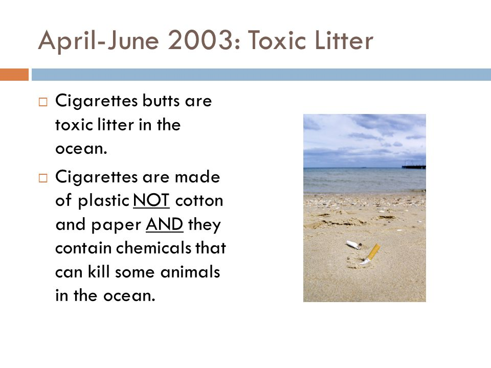 April-June 2003: Toxic Litter  Cigarettes butts are toxic litter in the ocean.