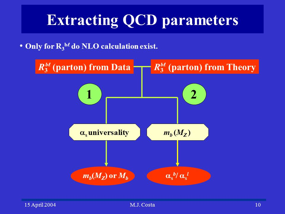 15 April 2004M.J. Costa10 Extracting QCD parameters  s universality m b (M Z ) m b (M Z ) or M b  s b /  s l 12 R 3 (parton) from Theory b R 3 (par