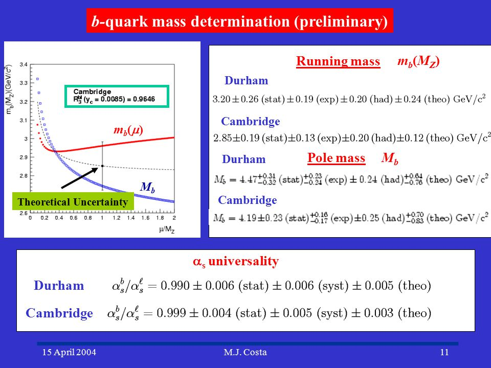 15 April 2004M.J. Costa11 b-quark mass determination (preliminary) Durham Cambridge Theoretical Uncertainty Durham Cambridge Running mass Pole mass mb