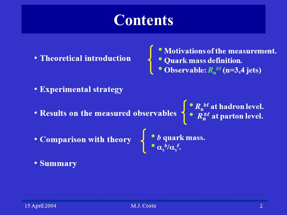 15 April 2004M.J. Costa2 Contents Theoretical introduction Experimental strategy Results on the measured observables Comparison with theory Summary 