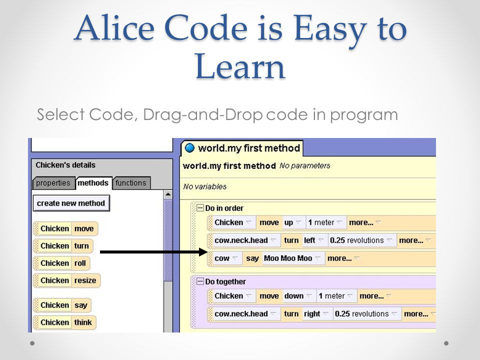 Alice Code is Easy to Learn Select Code, Drag-and-Drop code in program