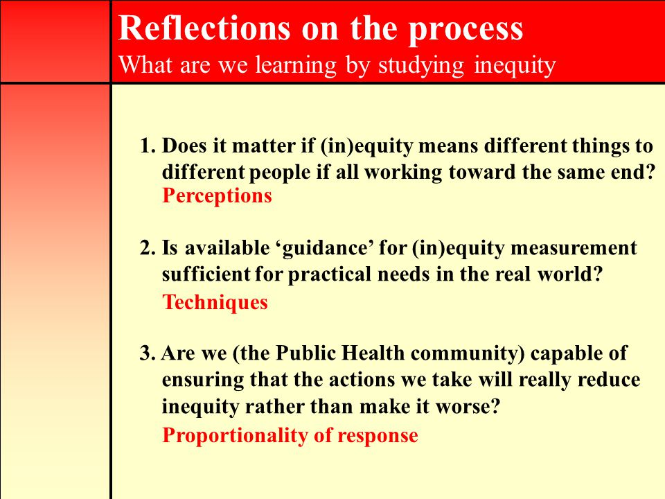 Reflections on the process What are we learning by studying inequity 1.