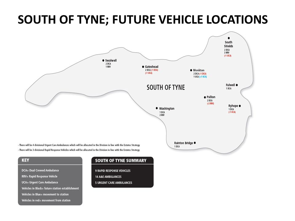 SOUTH OF TYNE; FUTURE VEHICLE LOCATIONS