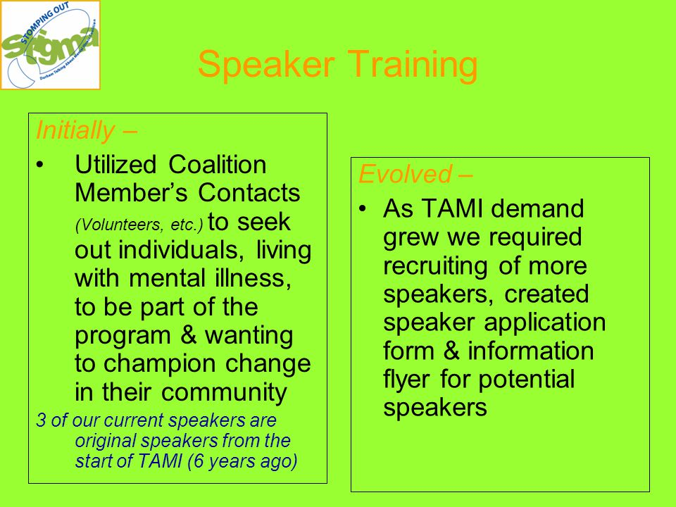 Speaker Training Initially – Utilized Coalition Member's Contacts (Volunteers, etc.) to seek out individuals, living with mental illness, to be part of the program & wanting to champion change in their community 3 of our current speakers are original speakers from the start of TAMI (6 years ago) Evolved – As TAMI demand grew we required recruiting of more speakers, created speaker application form & information flyer for potential speakers