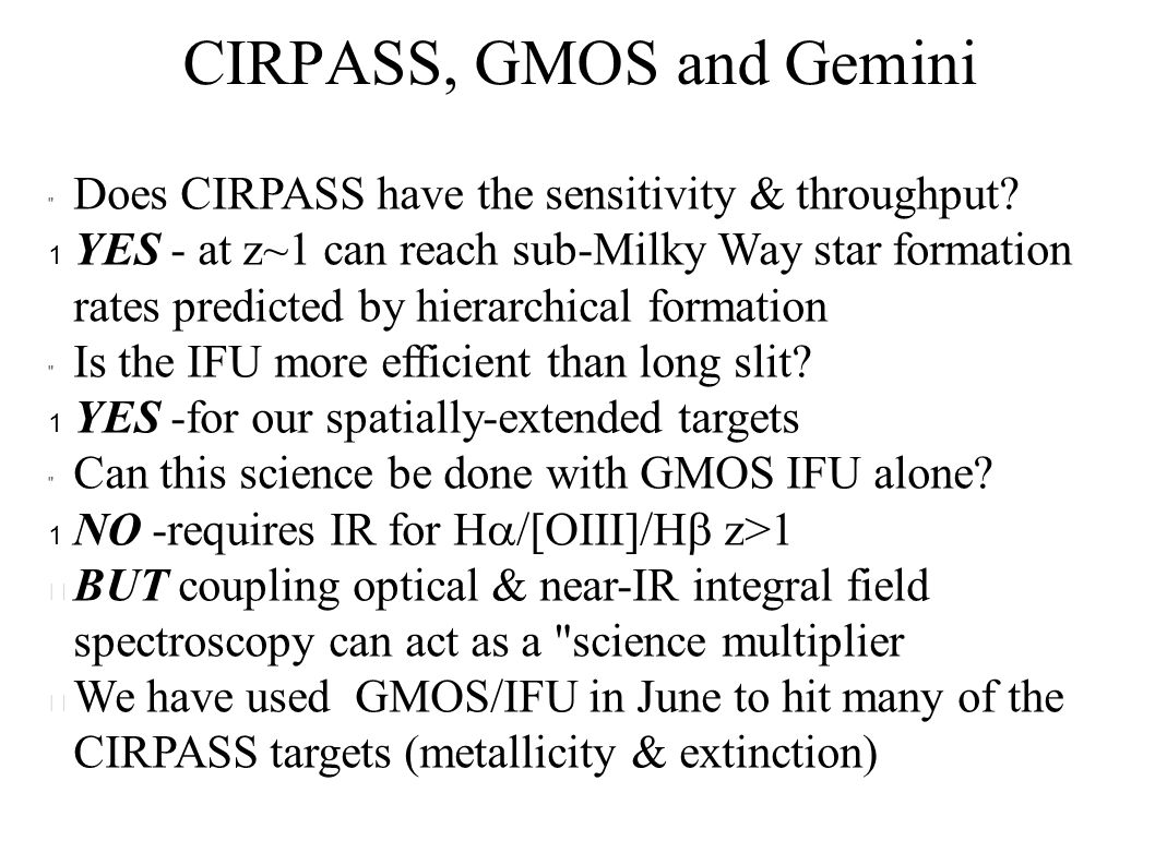 CIRPASS, GMOS and Gemini