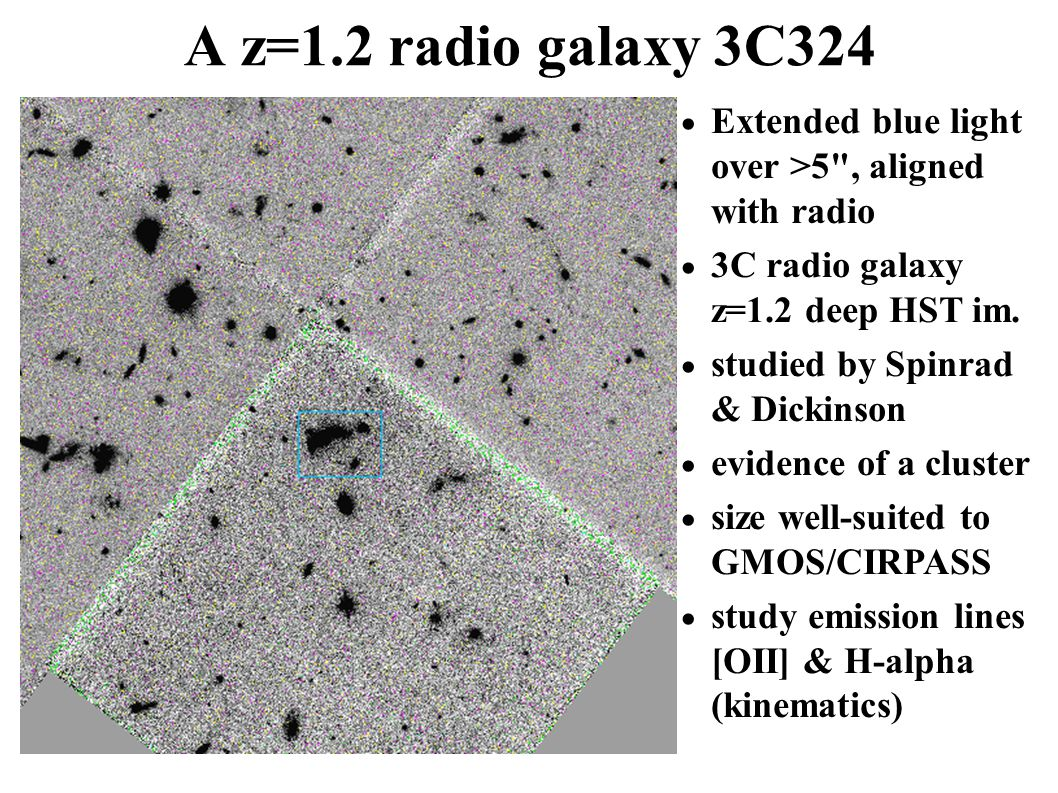 A z=1.2 radio galaxy 3C324  Extended blue light over >5