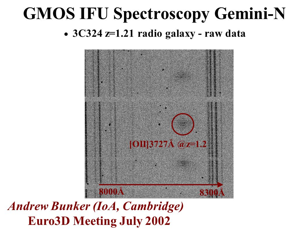GMOS IFU Spectroscopy Gemini-N  3C324 z=1.21 radio galaxy - raw data Andrew Bunker (IoA, Cambridge) Euro3D Meeting July 2002 8000Å 8300Å [OII]3727Å @