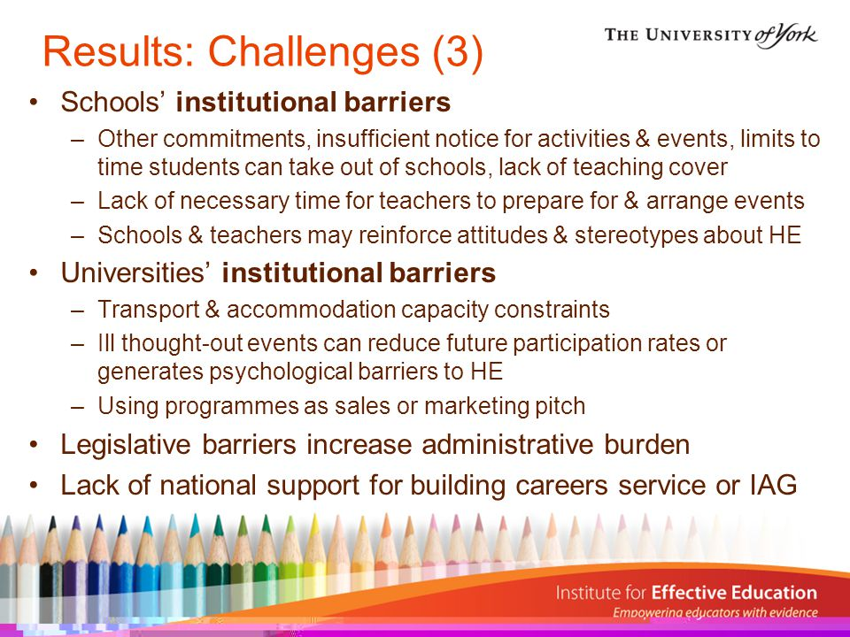 Results: Challenges (3) Schools' institutional barriers –Other commitments, insufficient notice for activities & events, limits to time students can take out of schools, lack of teaching cover –Lack of necessary time for teachers to prepare for & arrange events –Schools & teachers may reinforce attitudes & stereotypes about HE Universities' institutional barriers –Transport & accommodation capacity constraints –Ill thought-out events can reduce future participation rates or generates psychological barriers to HE –Using programmes as sales or marketing pitch Legislative barriers increase administrative burden Lack of national support for building careers service or IAG