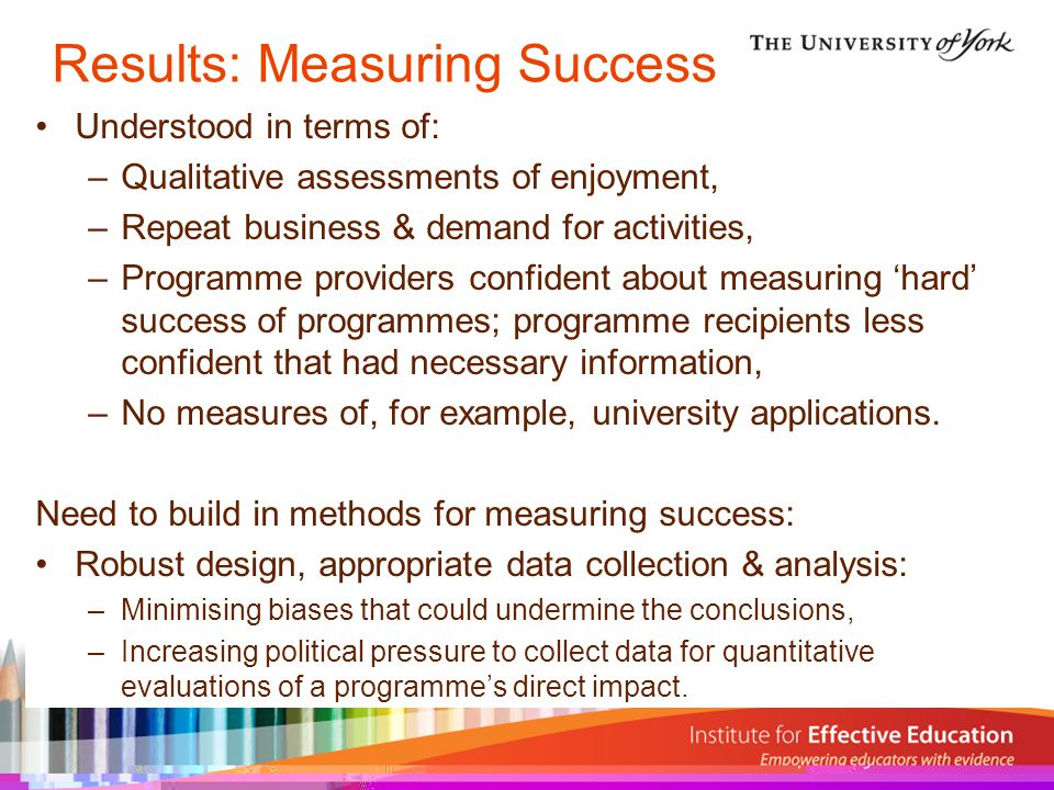 Results: Measuring Success Understood in terms of: –Qualitative assessments of enjoyment, –Repeat business & demand for activities, –Programme providers confident about measuring 'hard' success of programmes; programme recipients less confident that had necessary information, –No measures of, for example, university applications.
