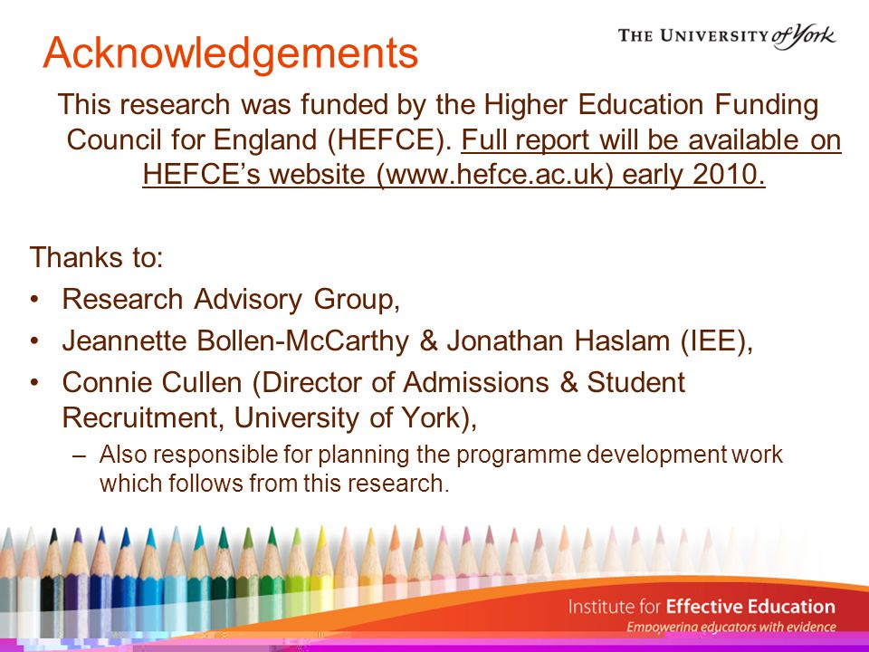 Acknowledgements This research was funded by the Higher Education Funding Council for England (HEFCE).