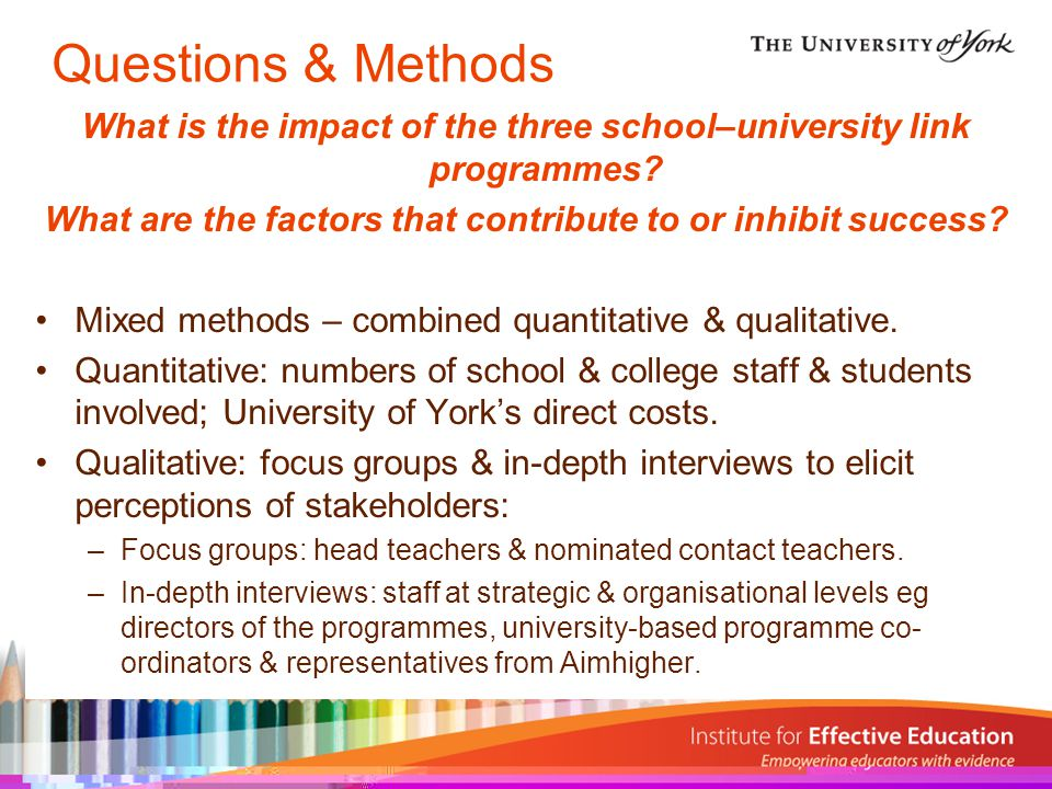MethodLinks programme(s)ParticipantsRole(s) 1Interview Green Apples, Durham Aimhigher, UYSCN 1Strategic 2Interview Green Apples, Durham Aimhigher, UYSCN 1Strategic 3InterviewDurham Aimhigher1Organisational 4 & 5Interview (joint) Green Apples, Durham Aimhigher, UYSCN 2Strategic & Organisational 6InterviewGreen Apples1Organisational 7InterviewUYSCN1Organisational AFocus GroupDurham Aimhigher7 Head Teacher, Assistant Heads, Aimhigher Co-ordinators & Aimhigher Mentors BFocus GroupGreen Apples4 Head of Year & Link Contact Teachers CFocus GroupUYSCN6 Assistant Principals, Head of 6 th Form, Careers Leader & Programme Manager Summary of Participants