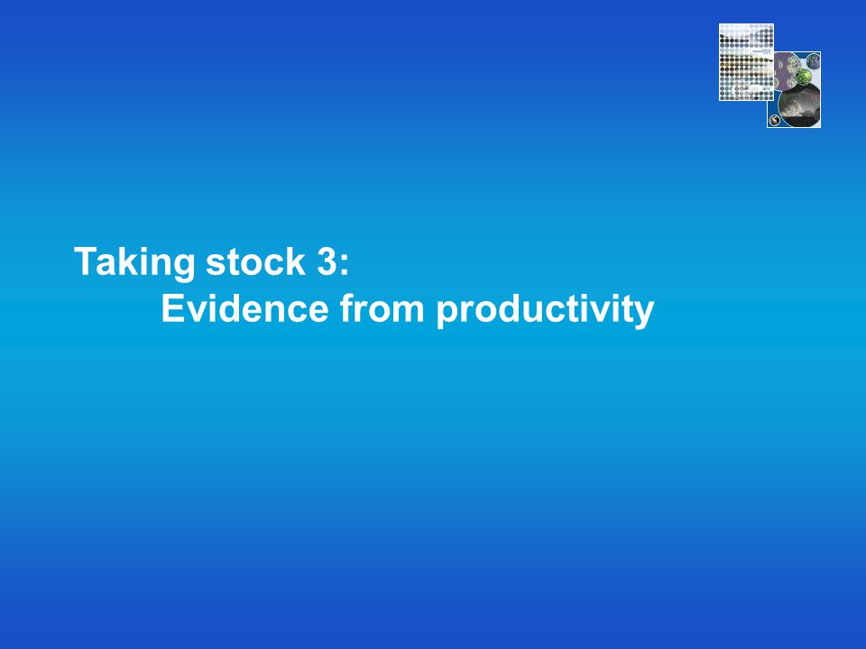 Taking stock 3: Evidence from productivity