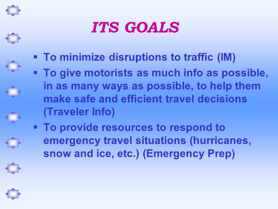 Goals  Provide information to Trucking Agencies/ATA on current delays on NC's roadways due to unusual events in hopes that they will alter their route.