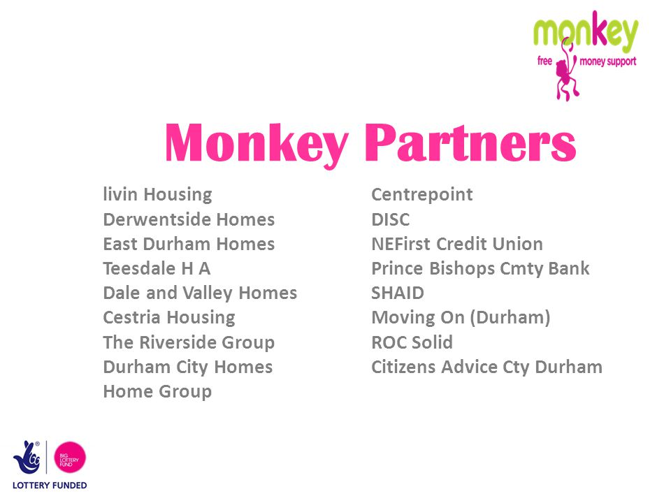 Monkey Partners livin Housing Centrepoint Derwentside Homes DISC East Durham Homes NEFirst Credit Union Teesdale H A Prince Bishops Cmty Bank Dale and Valley HomesSHAID Cestria Housing Moving On (Durham) The Riverside Group ROC Solid Durham City HomesCitizens Advice Cty Durham Home Group