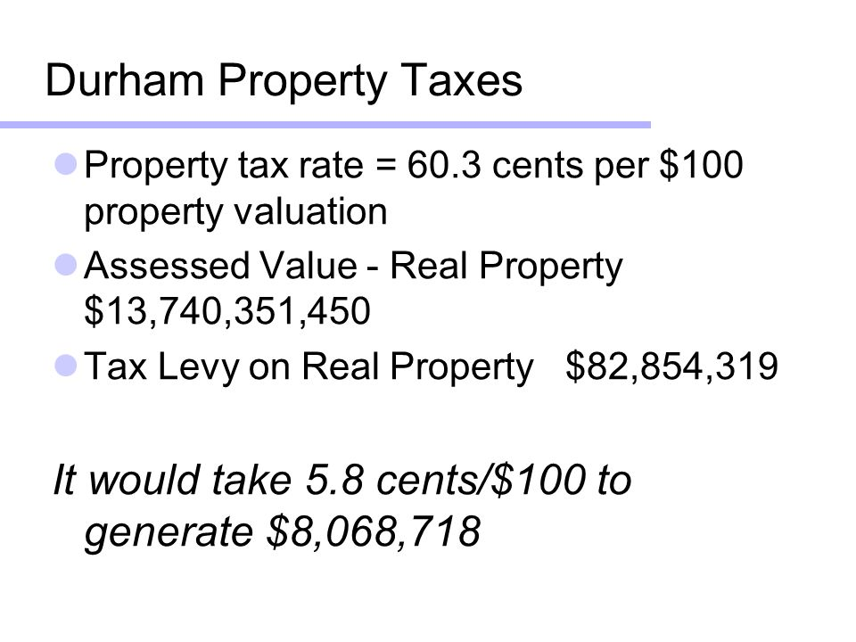 Durham Property Taxes Property tax rate = 60.3 cents per $100 property valuation Assessed Value - Real Property $13,740,351,450 Tax Levy on Real Property$82,854,319 It would take 5.8 cents/$100 to generate $8,068,718