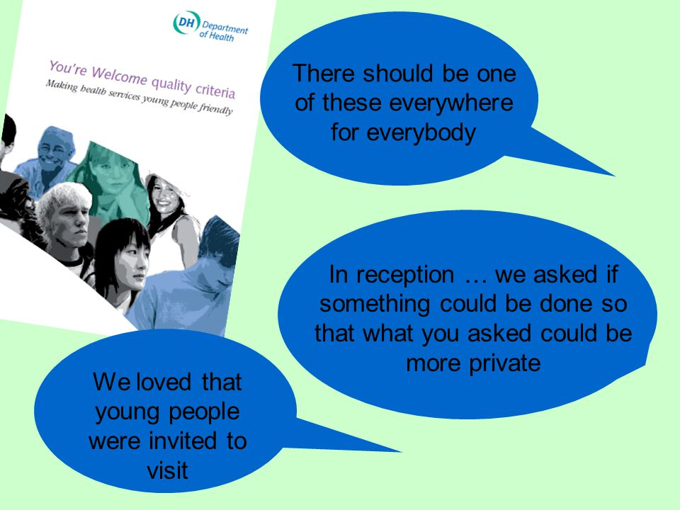 How young people are involved in shaping health services in NE England Training & advice for health professionals Verification visits Youth4U Young Inspectors Investing in Children Mystery Shopping Developing resources
