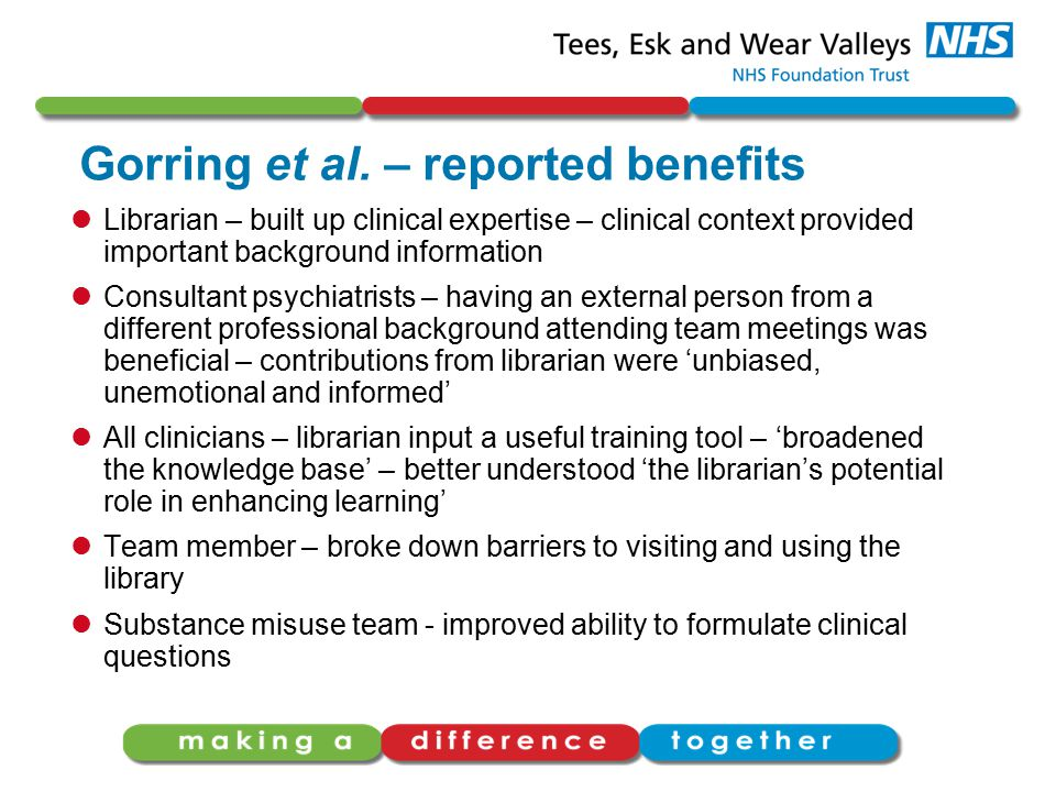 Gorring et al. – reported benefits Librarian – built up clinical expertise – clinical context provided important background information Consultant psy