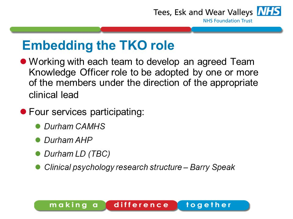 Embedding the TKO role Working with each team to develop an agreed Team Knowledge Officer role to be adopted by one or more of the members under the direction of the appropriate clinical lead Four services participating: Durham CAMHS Durham AHP Durham LD (TBC) Clinical psychology research structure – Barry Speak