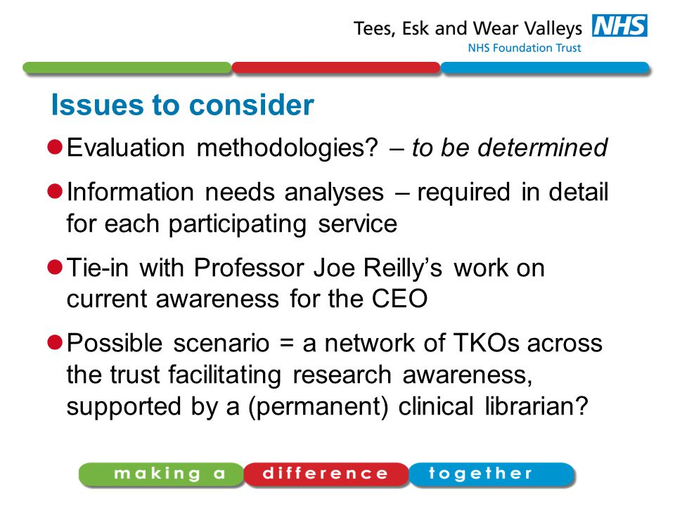 Issues to consider Evaluation methodologies.