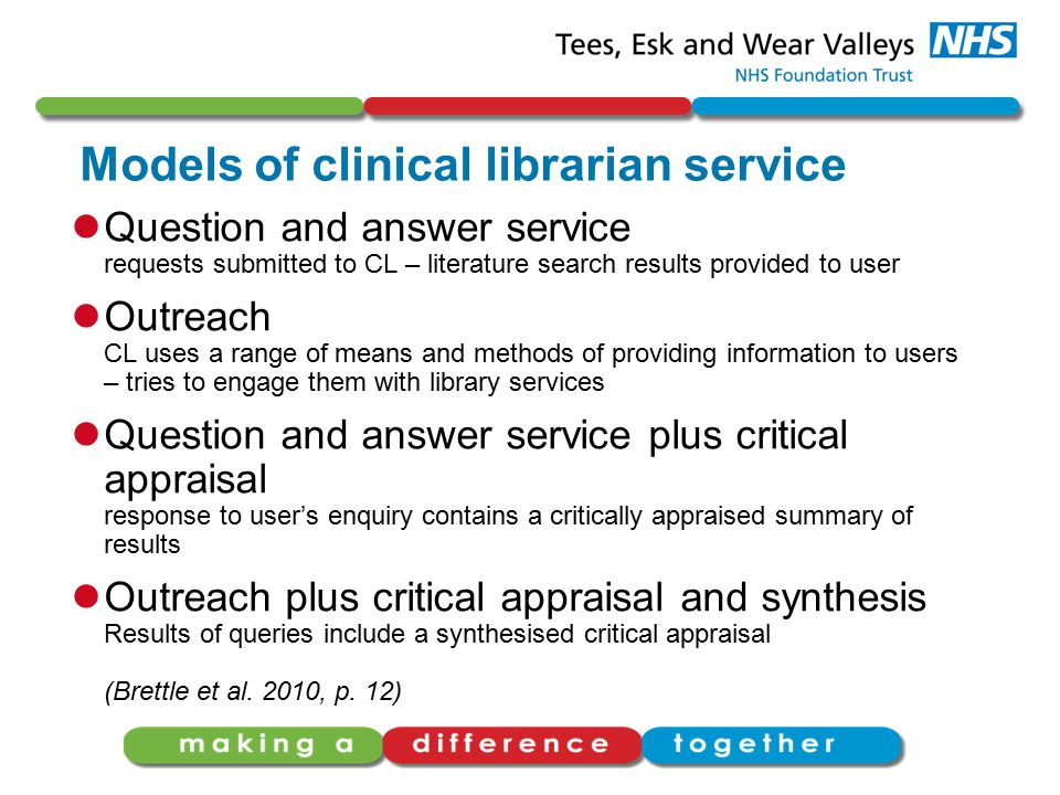 Models of clinical librarian service Question and answer service requests submitted to CL – literature search results provided to user Outreach CL use