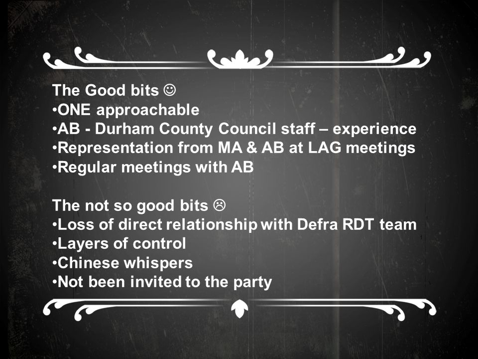 The Good bits ONE approachable AB - Durham County Council staff – experience Representation from MA & AB at LAG meetings Regular meetings with AB The not so good bits  Loss of direct relationship with Defra RDT team Layers of control Chinese whispers Not been invited to the party