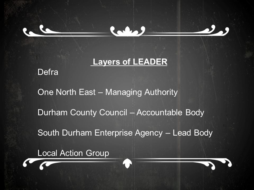 Layers of LEADER Defra One North East – Managing Authority Durham County Council – Accountable Body South Durham Enterprise Agency – Lead Body Local Action Group