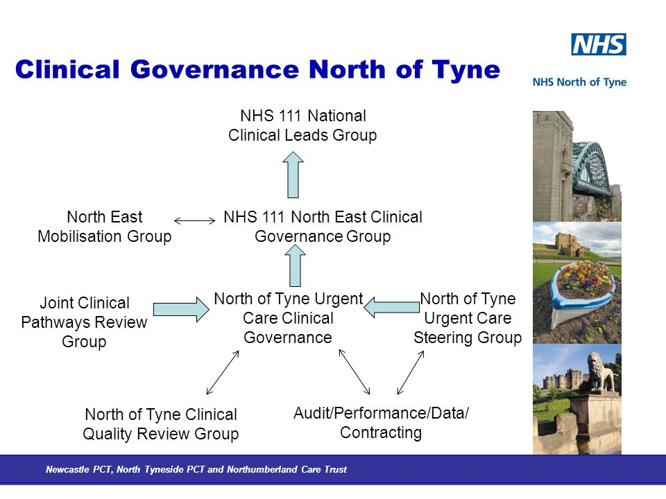 Clinical Governance North of Tyne Newcastle PCT, North Tyneside PCT and Northumberland Care Trust NHS 111 National Clinical Leads Group NHS 111 North East Clinical Governance Group North of Tyne Urgent Care Clinical Governance North of Tyne Urgent Care Steering Group Joint Clinical Pathways Review Group Audit/Performance/Data/ Contracting North East Mobilisation Group North of Tyne Clinical Quality Review Group