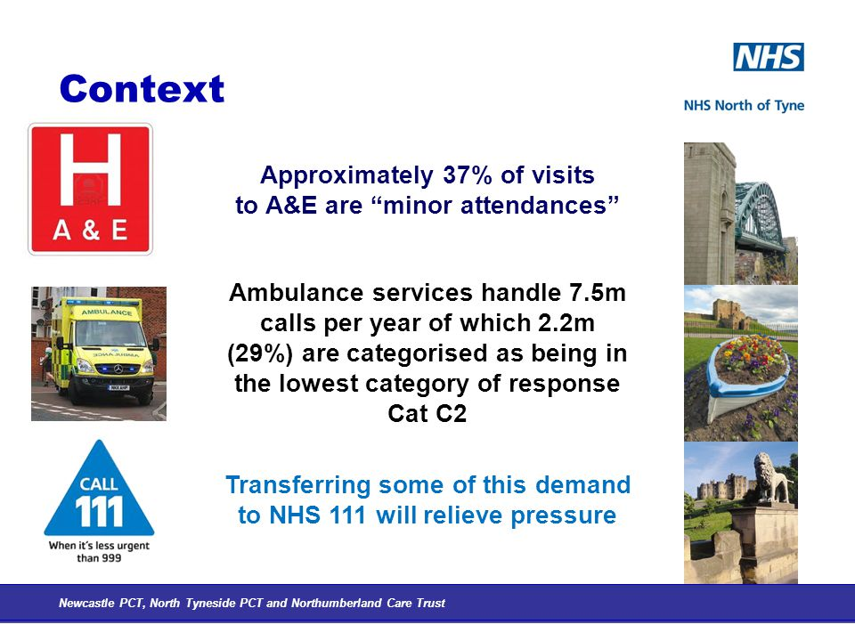Context Newcastle PCT, North Tyneside PCT and Northumberland Care Trust Approximately 37% of visits to A&E are minor attendances Ambulance services handle 7.5m calls per year of which 2.2m (29%) are categorised as being in the lowest category of response Cat C2 Transferring some of this demand to NHS 111 will relieve pressure