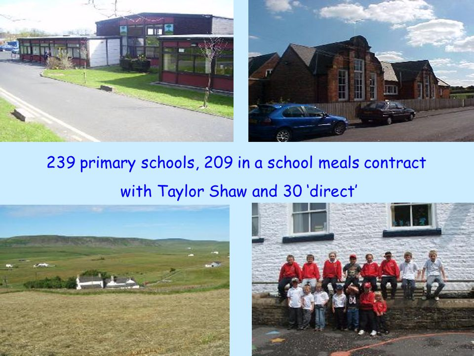 239 primary schools, 209 in a school meals contract with Taylor Shaw and 30 'direct'