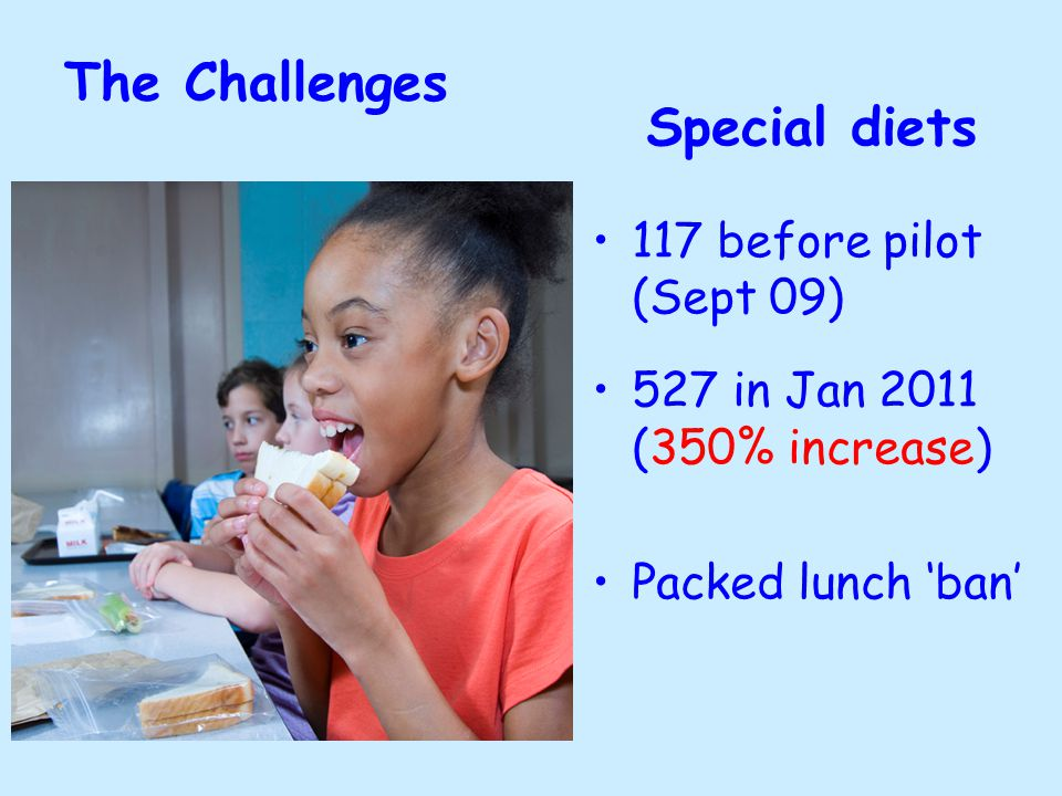 The Challenges Special diets 117 before pilot (Sept 09) 527 in Jan 2011 (350% increase) Packed lunch 'ban'