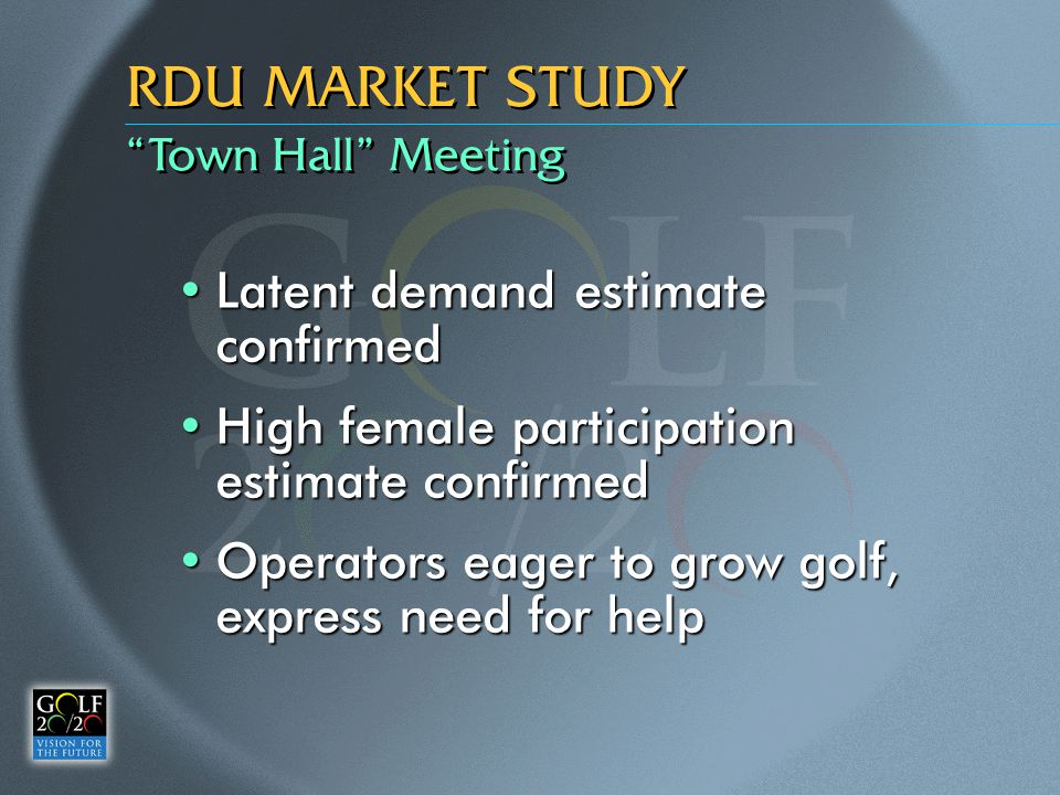 """Town Hall"" Meeting RDU MARKET STUDY Latent demand estimate confirmedLatent demand estimate confirmed High female participation estimate confirmedHigh"
