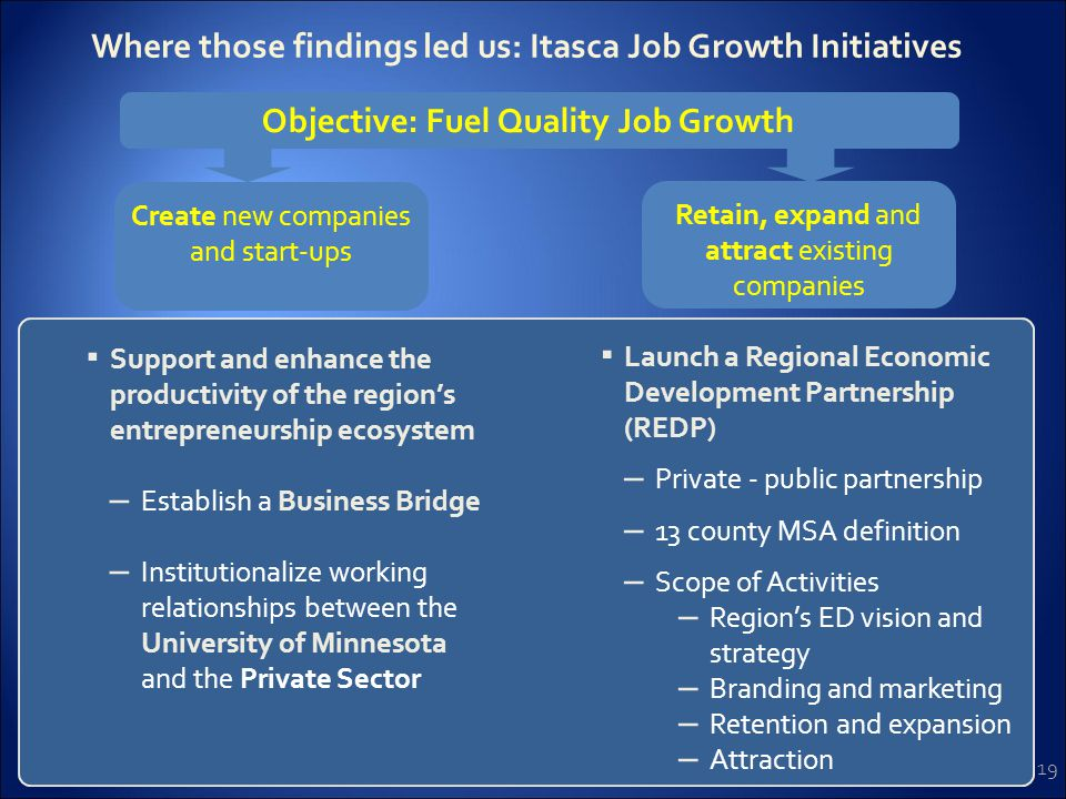 19 Where those findings led us: Itasca Job Growth Initiatives Create new companies and start-ups ▪ Support and enhance the productivity of the region's entrepreneurship ecosystem – Establish a Business Bridge – Institutionalize working relationships between the University of Minnesota and the Private Sector ▪ Launch a Regional Economic Development Partnership (REDP) – Private - public partnership – 13 county MSA definition – Scope of Activities – Region's ED vision and strategy – Branding and marketing – Retention and expansion – Attraction Objective: Fuel Quality Job Growth Retain, expand and attract existing companies
