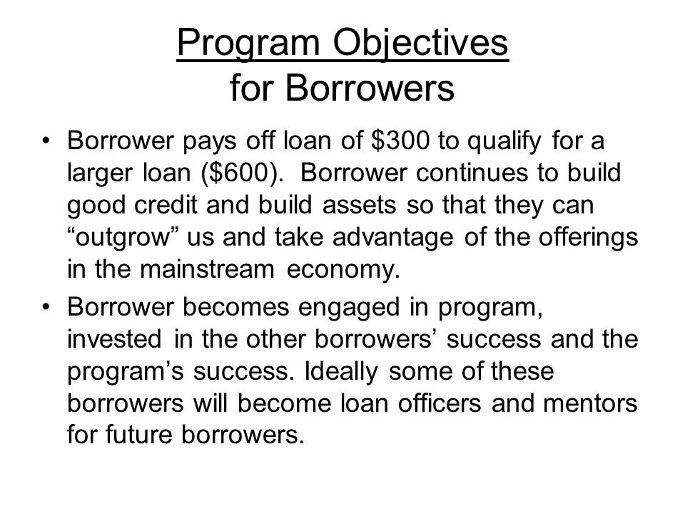 Program Objectives for Borrowers Borrower pays off loan of $300 to qualify for a larger loan ($600).