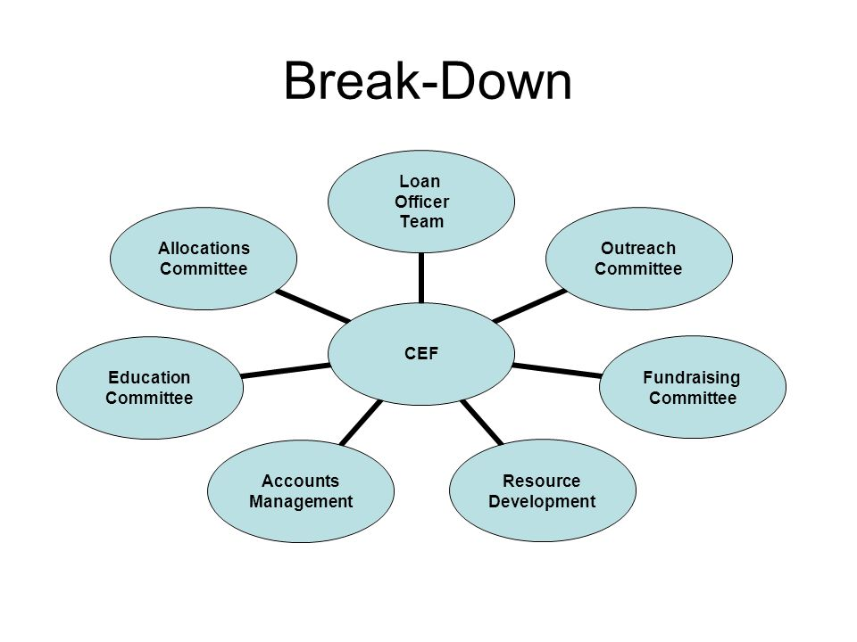 Break-Down CEF Loan Officer Team Outreach Committee Fundraising Committee Resource Development Accounts Management Education Committee Allocations Committee